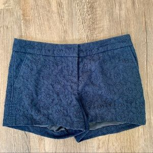 Kenar Navy Blue Fully Lined Lace Shorts